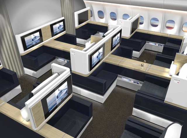 New Airplane Interior Design Allows for Romantic Dinner for Two
