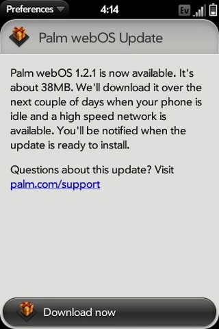 WebOS 1.2.1 Fixes Palm Pre iTunes Syncing, Exchange Breakage