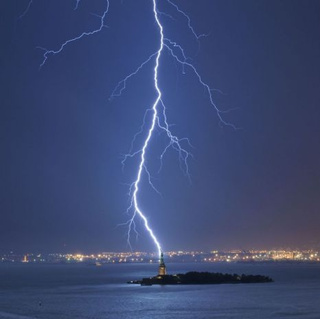 The Statue of Liberty Hit By Lightning