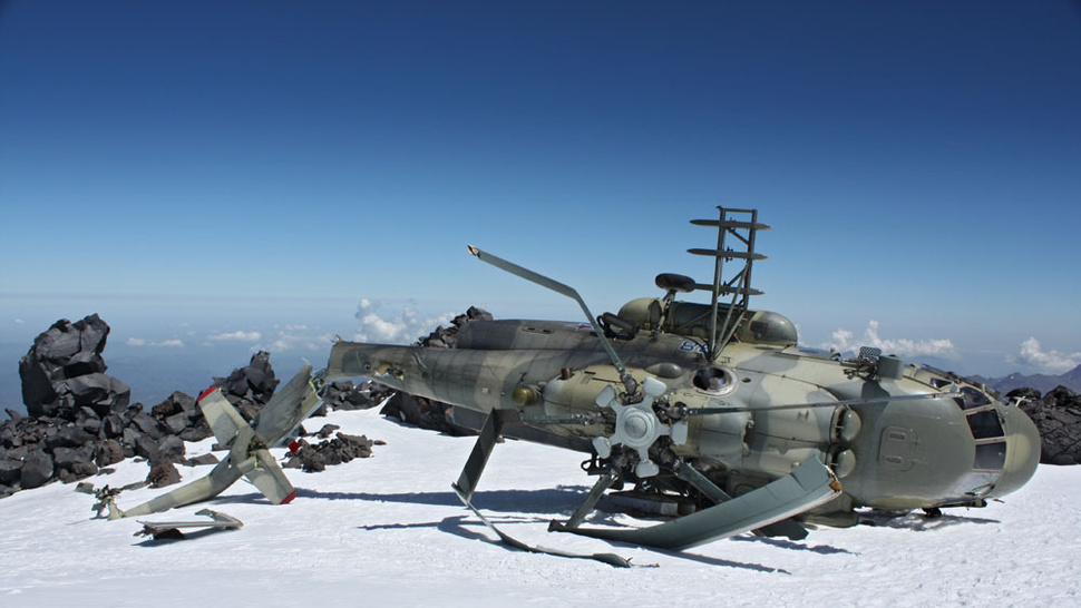 Russian Army Helicopter Found On Mountain Top