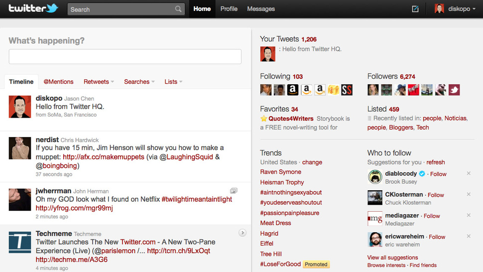 Twitter.com Gets a Revamp To Look Like a Twitter App