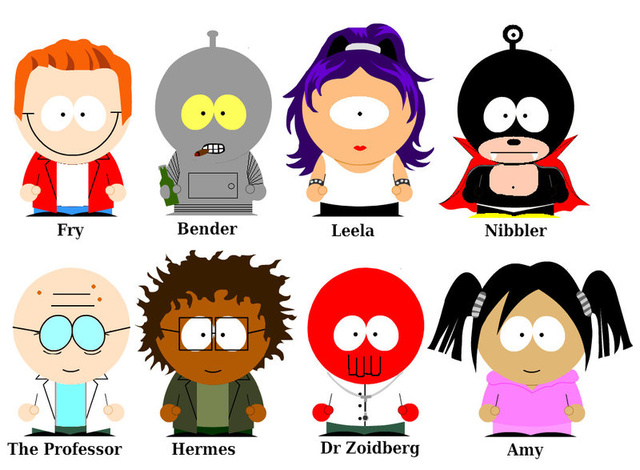 Futurama as South Park
