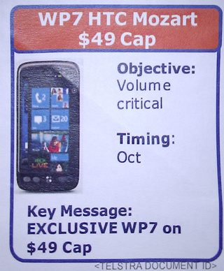 HTC Mozart Running Windows Phone 7 Leaks in Australia