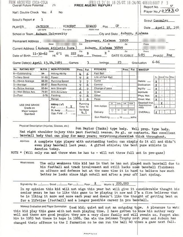 "1985 Bo Jackson Scouting Report: ""The Best Pure Athlete In America"""