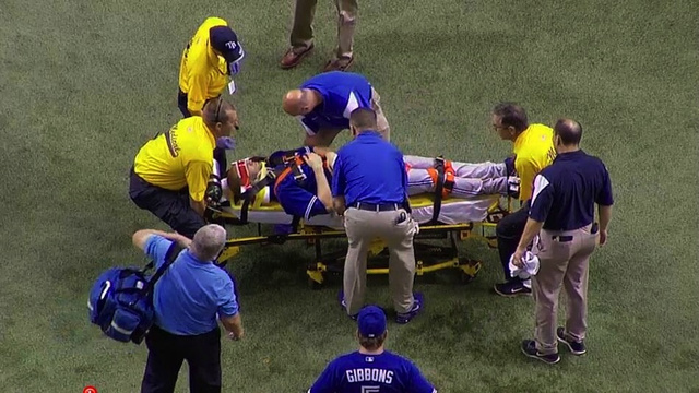 Toronto Blue Jays Pitcher J.A. Happ Hit In Head By Line Drive