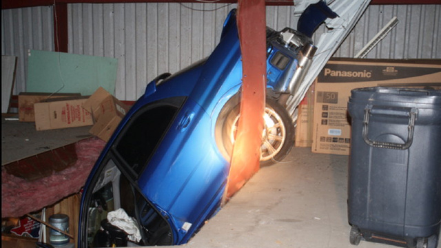 This Subaru STI flew 100 feet into a building