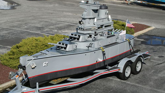 Unique jet driven mini battleship replica on Ebay
