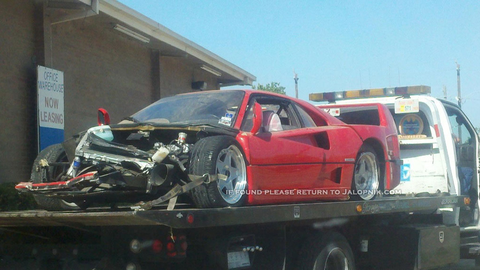 Ferrari F40 wrecked in Houston crash