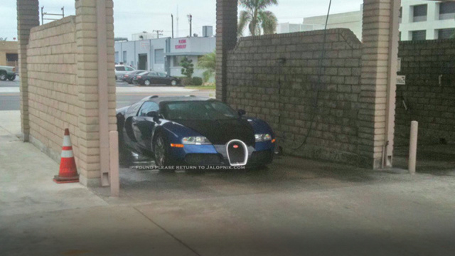 Cheap Bugatti owner takes Veyron to coin-operated car wash