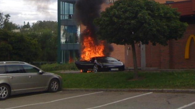 Norwegian rap stars' Lamborghini bursts into flames