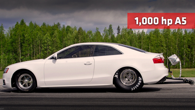 Watch an Audi A5 transform into a drag car