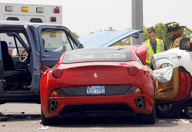Texan Suburban crashes into Ferrari California