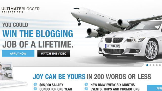 BMW dealer offers $65,000 for indentured blogging servant