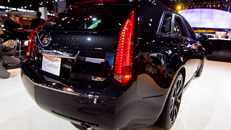 The Cadillac CTS-V Sport Wagon Black Diamond is dark, long and shiny
