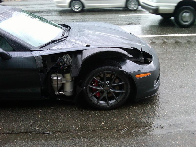 Husband's New Corvette Z06 Hit By Wife's Hyundai Genesis