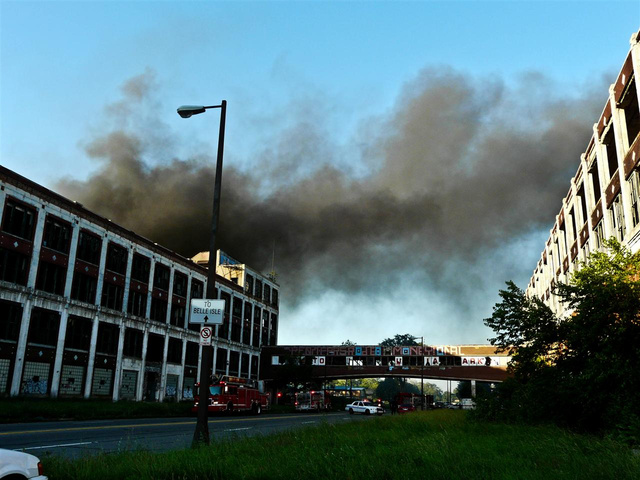 Abandoned Detroit Packard Auto Plant Catches Fire