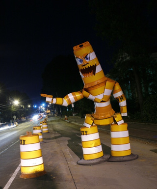 The Traffic Barrel Monster Will Eat You And Your Car