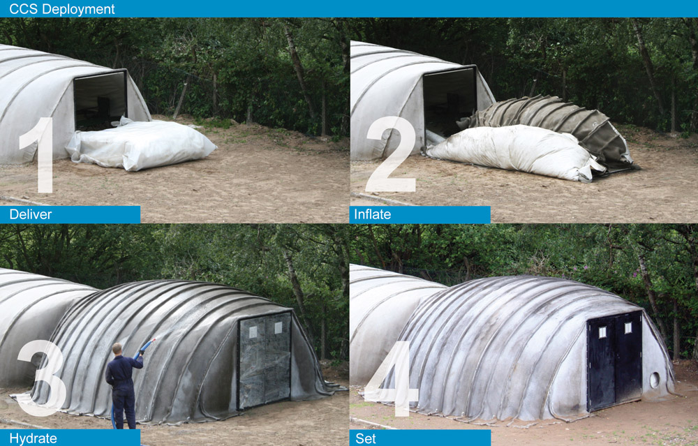 Concrete Fabric Shelter : Gimme shelter instant buildings from disaster areas to