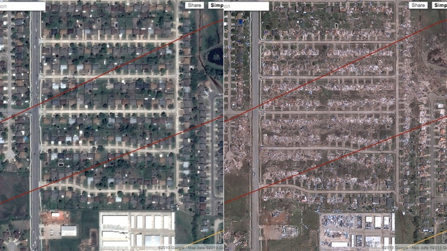 The Destruction of the Oklahoma Tornado As Seen by Google Maps ...