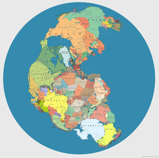 Heres what Pangea looks like mapped with modern political borders ku xlarge