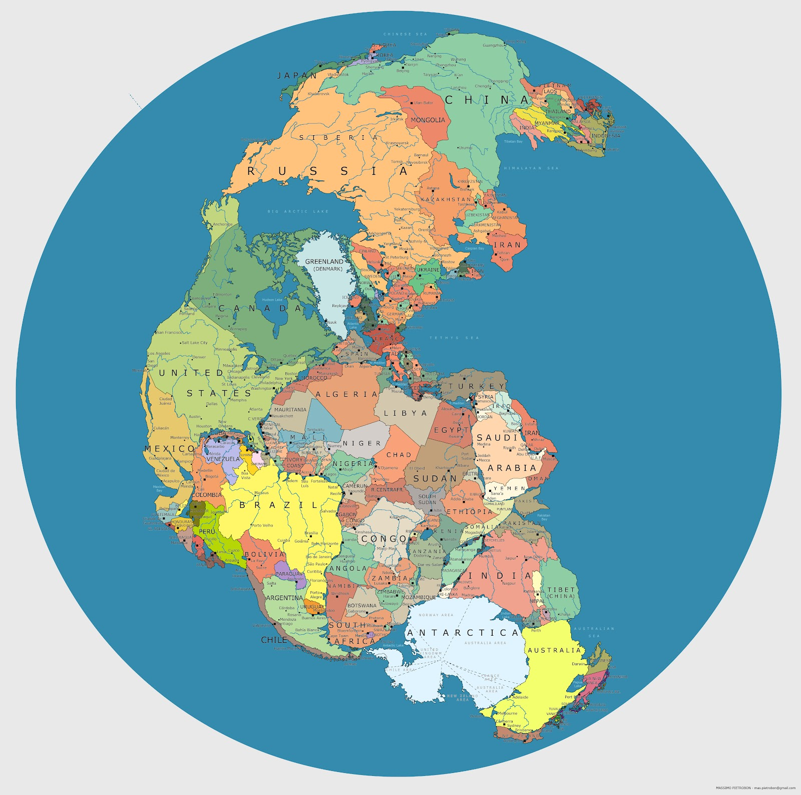 Heres what pangea looks like mapped with modern political borders hi res gumiabroncs Gallery