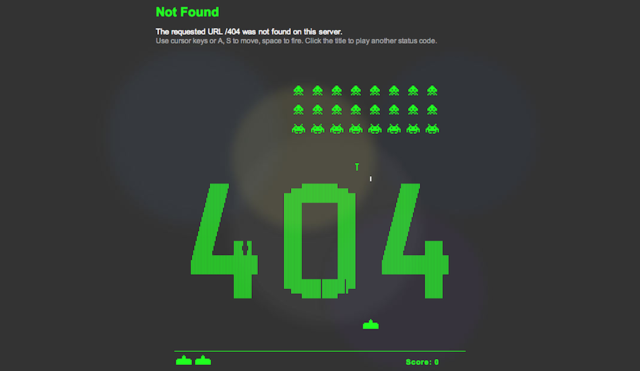 This Space Invaders 404 Page Is the Funnest 404 Error Page Ever