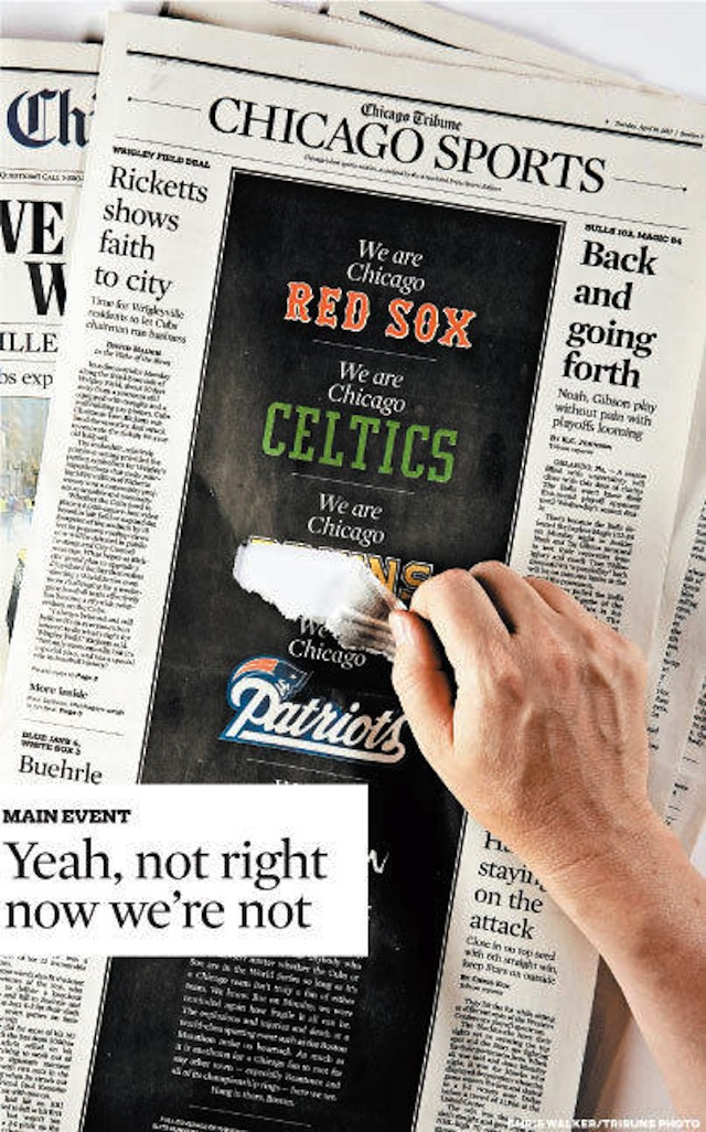 ku xlarge Chicago Tribune Sports Section Takes Back Part Of Boston Marathon Bombing Tribute