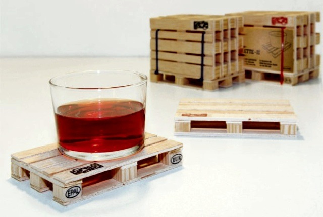 Drinks Placed on Pallet Coasters Should Be Served by A Tiny Man Driving a Diminutive Forklift