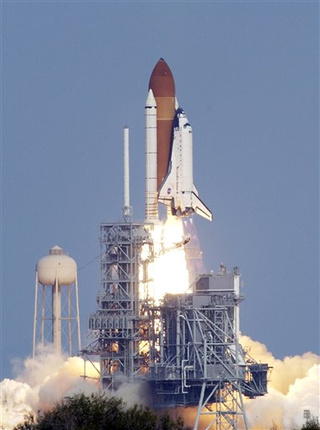 Space Shuttle Blastoff Looks Like Cotton Candy