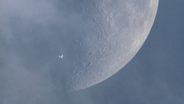 Holy crap, did the Enterprise just fly past the moon?