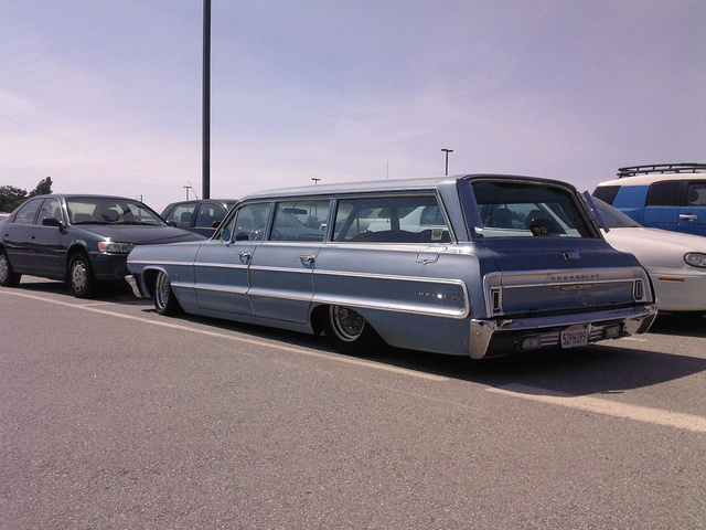 Ford Econoline, Plymouth Suburban, and Impala Wagon Down On The Maker Faire Parking Lot