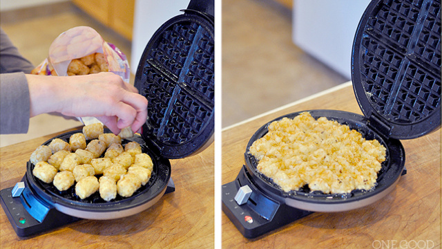 Turn Frozen Tater Tots Into Homestyle Hash Browns with a Waffle Iron