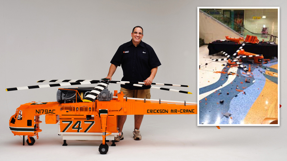 Vandals Destroy Largest Lego Helicopter Ever-Update: Idiots Arrested