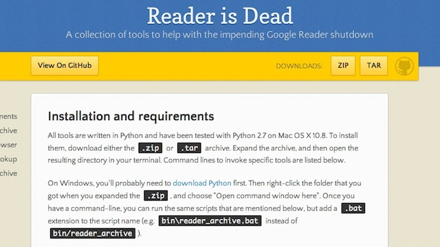 Reader Is Dead Pulls Out All the Google Reader Data that Takeout Won't