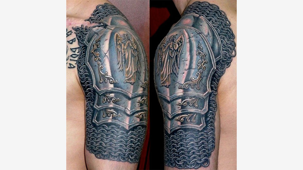 awesome tattoo looks like suit of armor