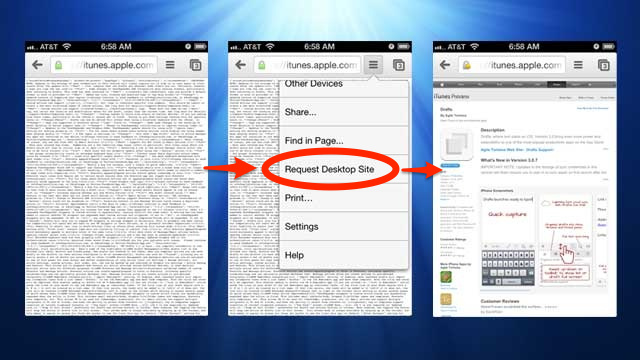 Open iTunes Links in Chrome for iPhone with the Desktop View