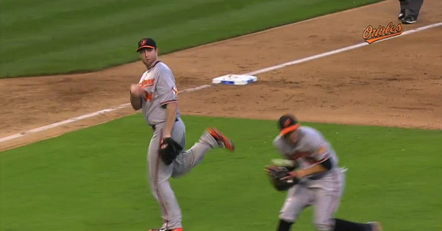 Scott Feldman Throw Nearly Decapitates Manny Machado