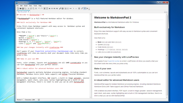 MarkdownPad Renders Markdown in Real Time, Exports Clean HTML