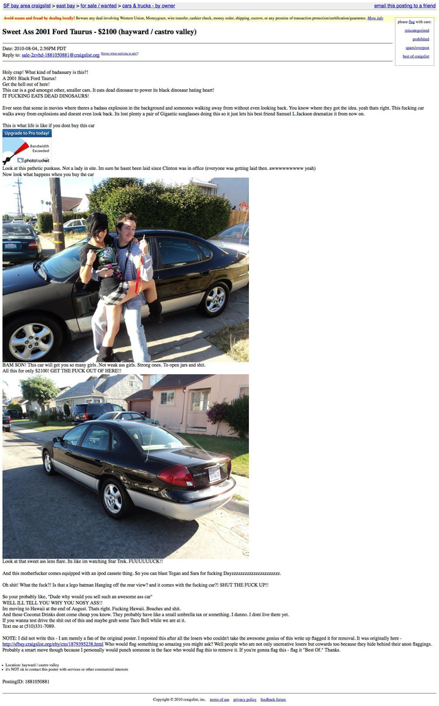 The Ten Weirdest Craigslist Car Ads Ever Made insuranceinstantonline ...