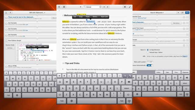 Editorial for iPad Is a Powerful Text Editor with Automation Features