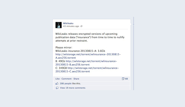 """What Could Be In Wikileak's Giant 349GB """"Insurance"""" File?"""