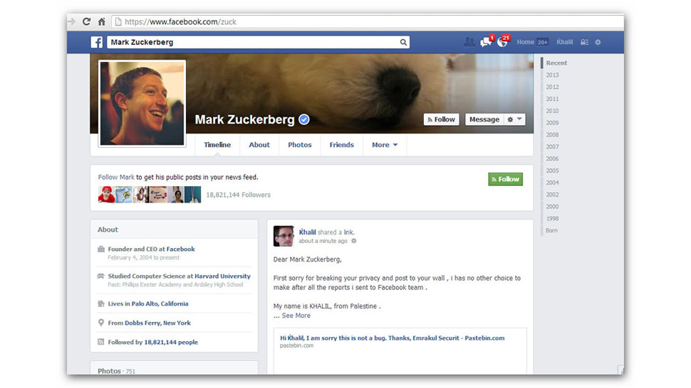 A Guy Hacked Zuck's Wall After Facebook Ignored His Bug Report