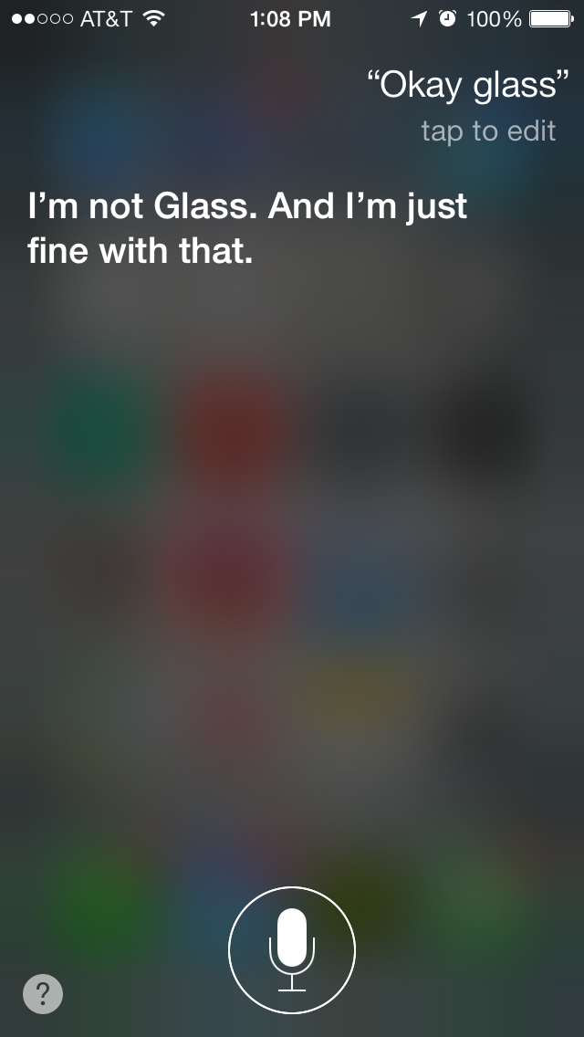 Siri Gets Sassy If You Ask Her About Google Glass