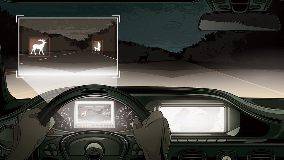 Mercedes benz vehicles get night vision that can recognise for Mercedes benz night vision