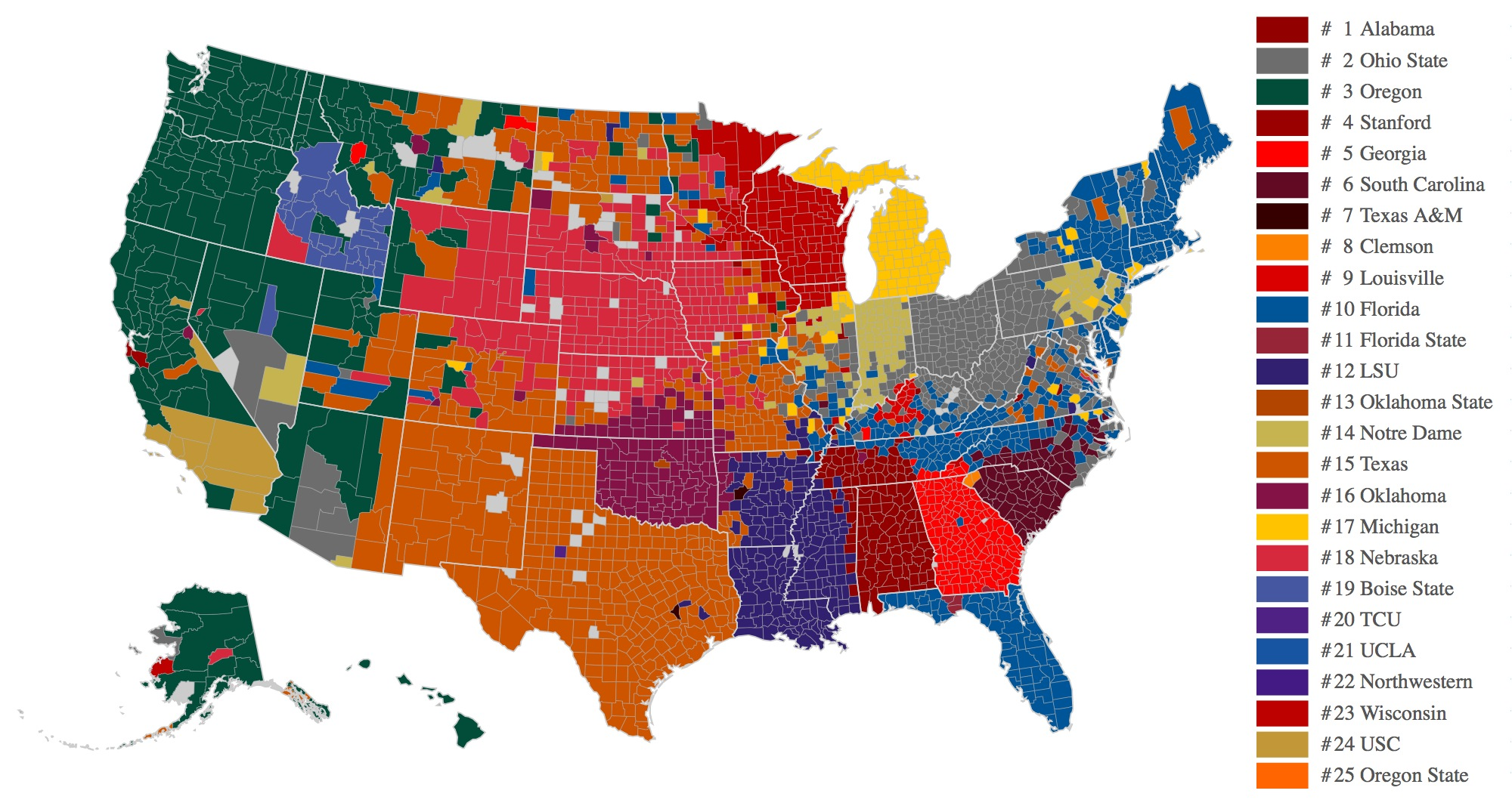 Facebook Data Now Give Us The Best Map Of College Football Fandom