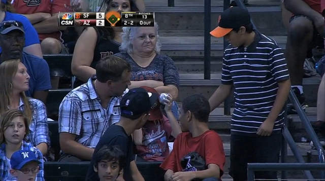 Young Giants Fan Donates Ball After Sad D-Backs Fan Misses Out …