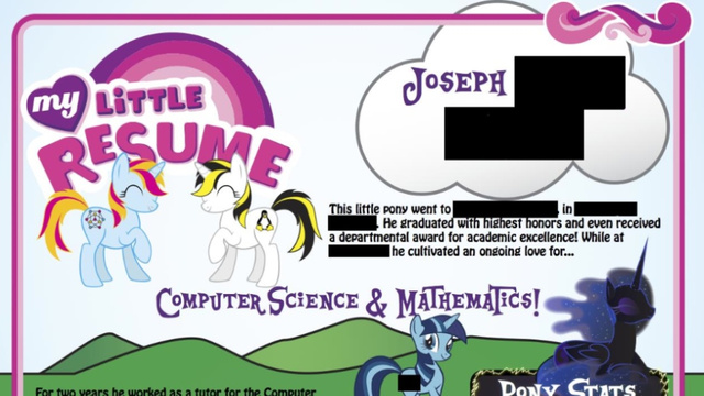 this  u0026 39 my little pony u0026 39  resume does not seem to be a joke