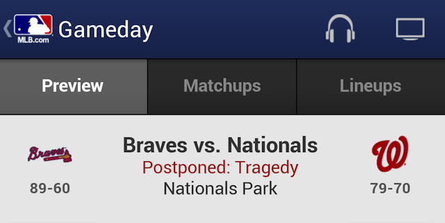 "MLB Gameday: Braves-Nationals ""Postponed: Tragedy"""