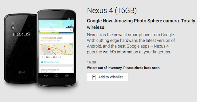 The Nexus 4 Is Completely Sold Out and Supposedly Never Coming Back