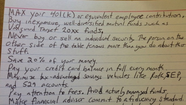 All the Financial Advice You'll Ever Need on a 4x6 Index Card